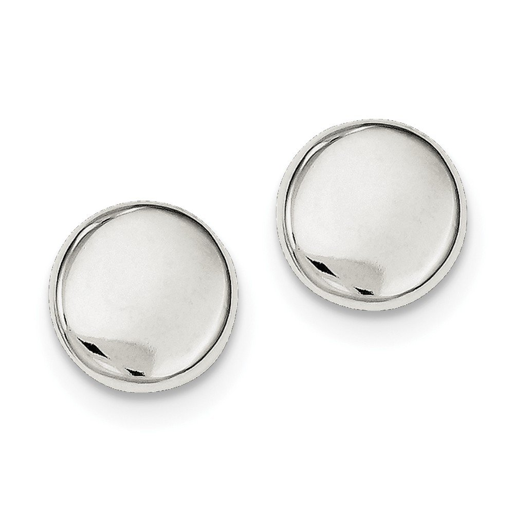 Sterling Silver Polished Button Post Earrings (Approximate Measurements 12mm x 12mm)