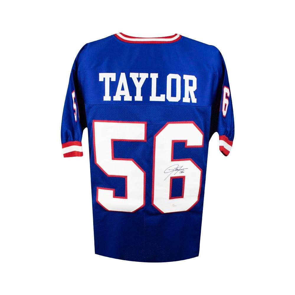 Lawrence Taylor Autographed New York Giants Custom Blue Football Jersey JSA (B) SCC