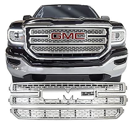 e9cf8caa75eacc Amazon.com  DeluxeAuto Chrome Grille Overlay (2 Pieces Kit) is compatible  with 2016 2017 GMC Sierra 1500 - Does NOT fit Denali!  Automotive