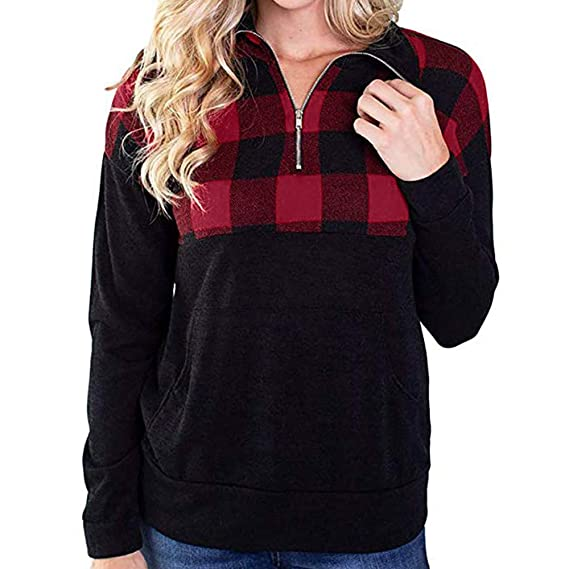 Rambling New Women Casual Plaid Quarter Zip up Pullover Color Block Long Sleeve Sweatshirt Tops at Amazon Womens Clothing store: