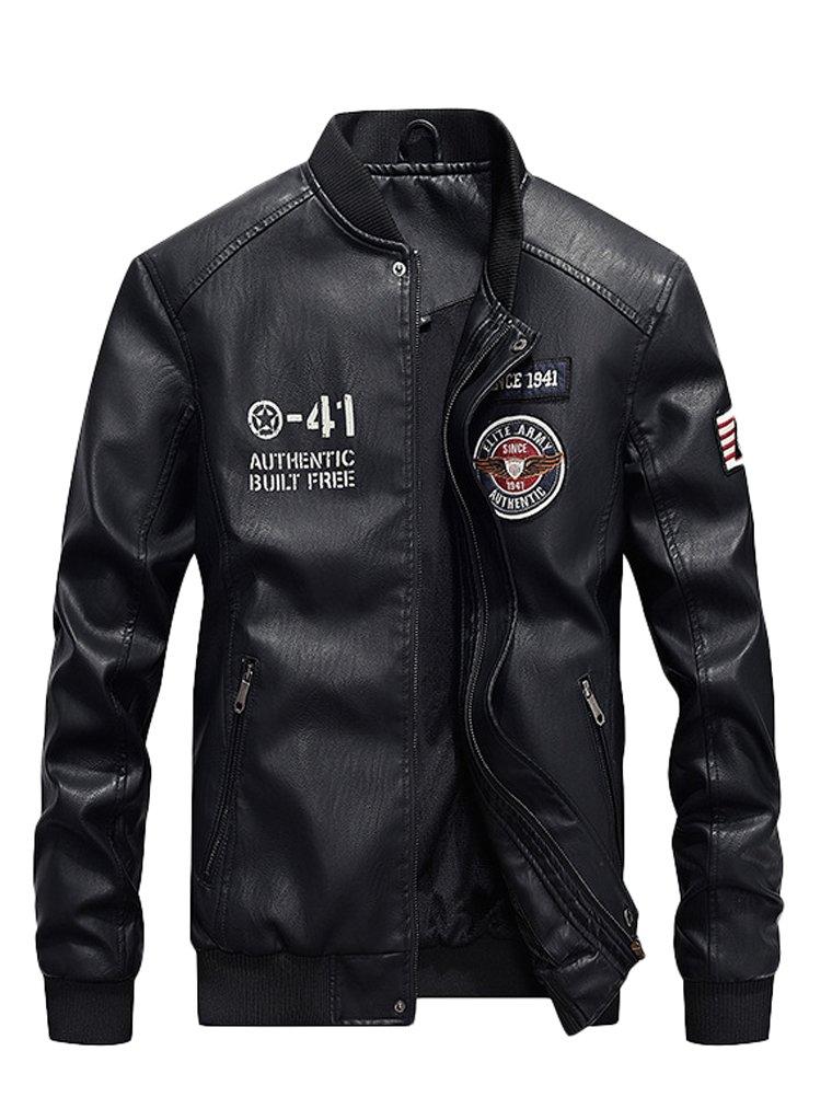 Mordenmiss Men's Basic Leather Letter Man Baseball Varsity Jacket Bomber Outwear Style 2 Black XL by Mordenmiss
