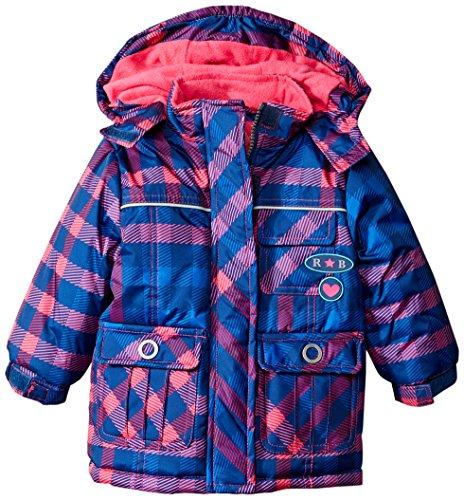 Rugged Bear Baby Girls' Plaid Ski Jacket, Navy, 18 Months