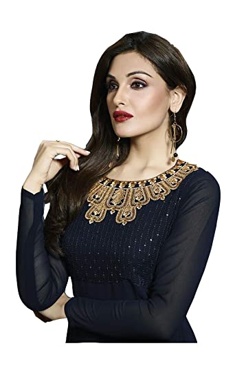 7edbc3e5e1 Daddy-x Women Navy Blue Georgette Embroidery Sequence Work Tunic Dress/Party  Wear Dress