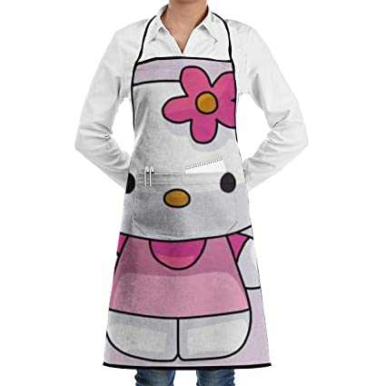 b8b6dafb8 Image Unavailable. Image not available for. Color: Adjustable Bib Apron  with Pockets - Draw Hello Kitty Black Cooking Kitchen Aprons for Women Men