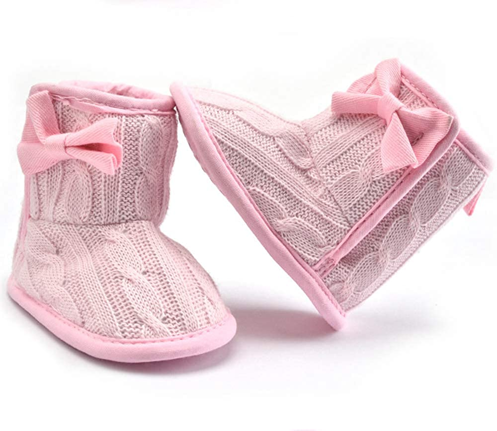 Baby Girl Soft Sole Anti Slip Prewalker Shoes Snow Boots with Bowknot 0-6 Months, Pink