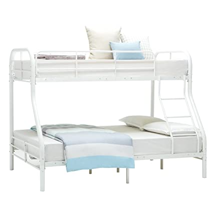Amazon.com: Mecor Twin Over Full Metal Bunk Beds Frame W/Inclined ...