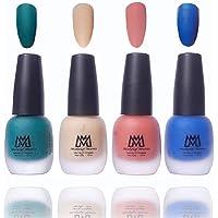 Makeup Mania Premium Nail Polish Velvet Matte Nail Paint Combo (Green, Blue, Nude, Peach, Pack of 4)