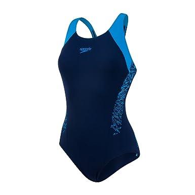 0d3e0b27afeabb Speedo Damen Racerback- mit Boom-Splice Badeanzug, blau (Navy 34/Winsdor