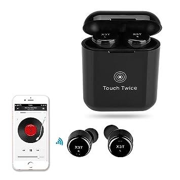 hellodigi X3T Bluetooth inalámbrico auriculares 4.2 Touch botón Bluetooth auriculares con micrófono y carga Banco, Mini auriculares, adecuado para la ...