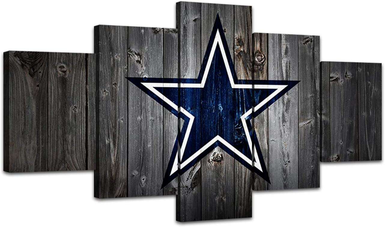 MIAUEN Canvas Art Dallas Cowboys Wall Decor Framed Artwork Pictures 5 Panel Poster Paintings for Living Room Bedroom Home Decorations Ready to Hang(60''Wx32''H)