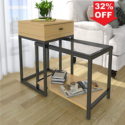 Lifewit 2-piece Side Table Nesting Table Accent Table Set with Drawer, Combination Extension Slide End Sofa Table (2 Piece Drawers)