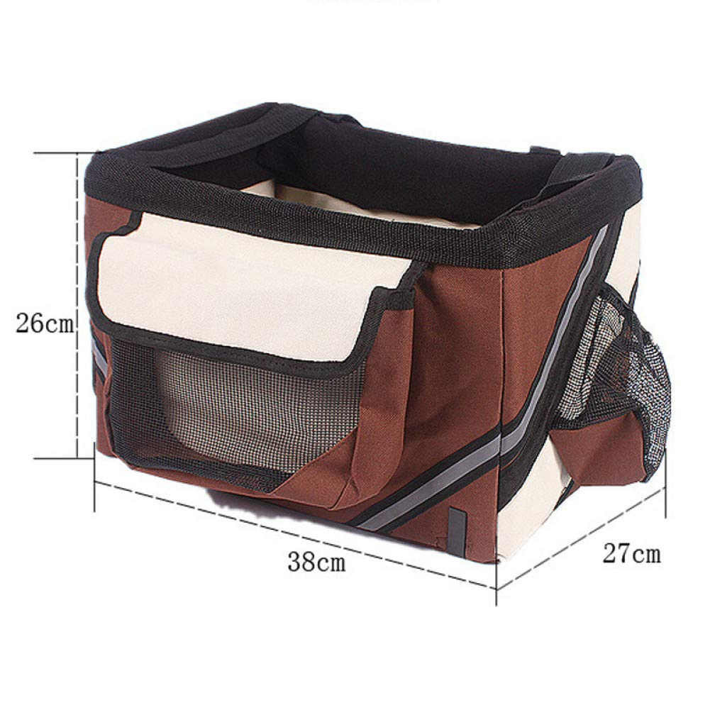 Brown 38x27x26cm Brown 38x27x26cm ZIOFV Package Pet Bicycle Carrier Bag Puppy Dog Travel Bike Carrier Seat for Small Dog Basket Products Travel Accessories
