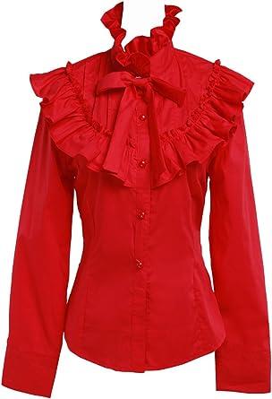 an*tai*na* Roja Algodón Volantes Encaje Bow Tie Stand-up Collar Lolita Camisa Blusa de Mujer: Amazon.es: Ropa y accesorios