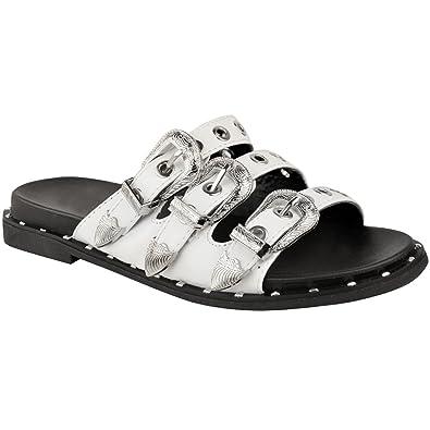 ae417b17c24cd Fashion Thirsty Heelberry® - Sandales Plates - Clous Boucles -  Biker Gothique - Été - Femme  Amazon.fr  Chaussures et Sacs