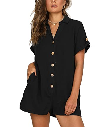 e2d16d34303 Amazon.com  BONESUN Women Casual Sexy V-Neck Short Sleeve Button Down  Jumpsuits Rompers with Pockets  Clothing