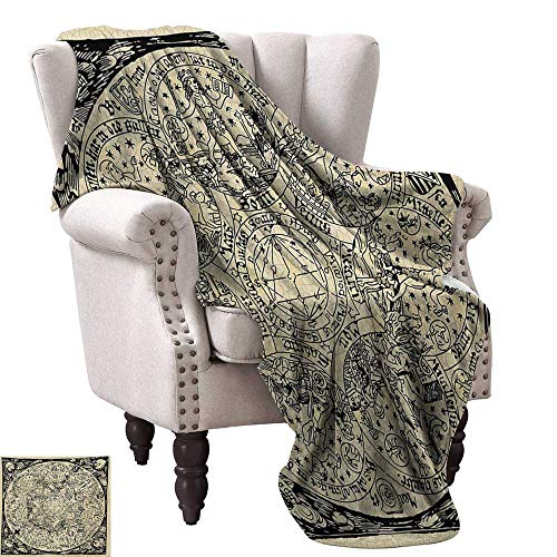 WinfreyDecor Astrology Super Soft Blankets Series of Ancient Mystic Esoteric Old Map with Man Figures with Vintage Symbols All Season for Couch or Bed 36