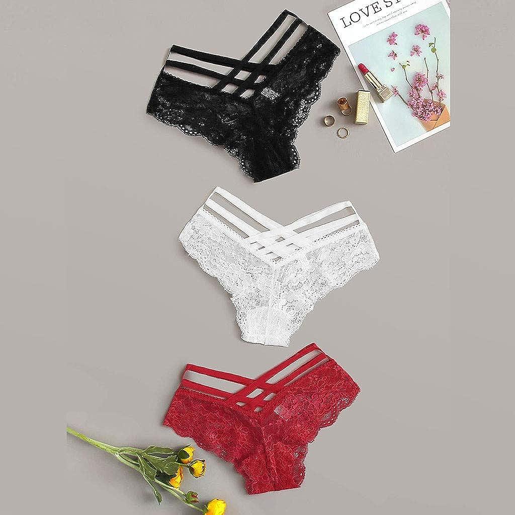 BELLA HXR Mutande Donna in Fiori di Pizzo Culotte in Pizzo Soft Lace Donna Mutandine Intime a Vita Bassa Thong Donna Elegante Elastiche Slip per Tumblr Ragazza,Pacco da 3