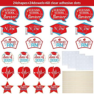 2020 Nurse Graduation Decoration, Congrats Nurse Centerpieces Sticks Red Nursing Graduation Party Centerpieces Table Topper Photo Booth Props for Nurse Graduation RN Theme Party Decorations, Set Of 24: Toys & Games