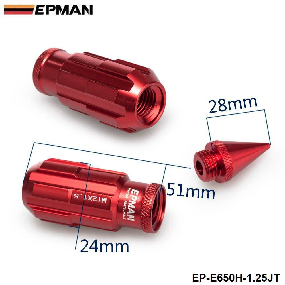 Red, Pack Of 20 EPMAN Racing Aluminum Lock Locking Lug Nuts With Spikes 12x1.25 W//Key For Nissan Subaru Suzuki