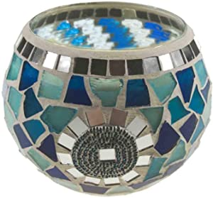 Frespersy Candle Holders Mosaic Glass Jars Votive Tealight Candleholders for Holidays, Weddings, Parties Home Decor Thanksgiving Gifts (Blue Ocean)