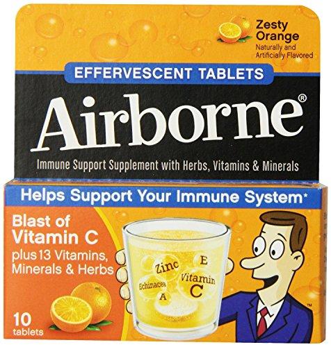 Airborne Effervescent Health Formula Tablets, Orange, 3 Packs of 10, 30 ()
