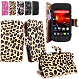 Cellularvilla Wallet Pu Leather Flip Open Pocket Stand Case Cover Pouch with Credit Card Id Holder Slots / Detachable Wrist Strap for ZTE Concord II 2 Z730 T-mobile (Brown Leopard)