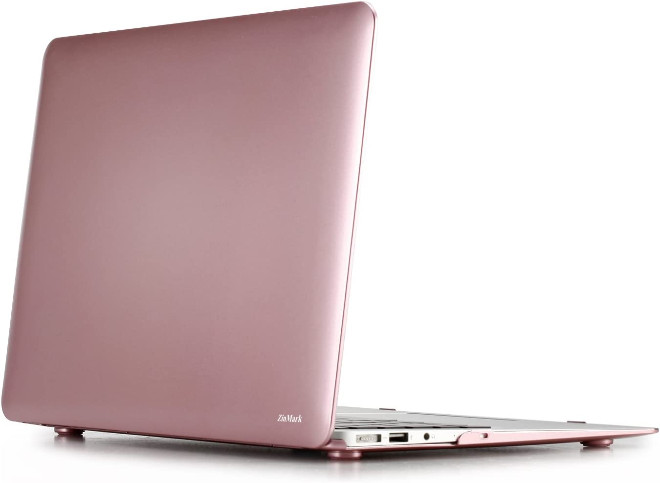 Zinmark 13 Inch Laptop Case Cover Compatible with MacBook Air 13.3 Inch A1369 / A1466, Plastic Folio Hard Cover Case - Rose Gold