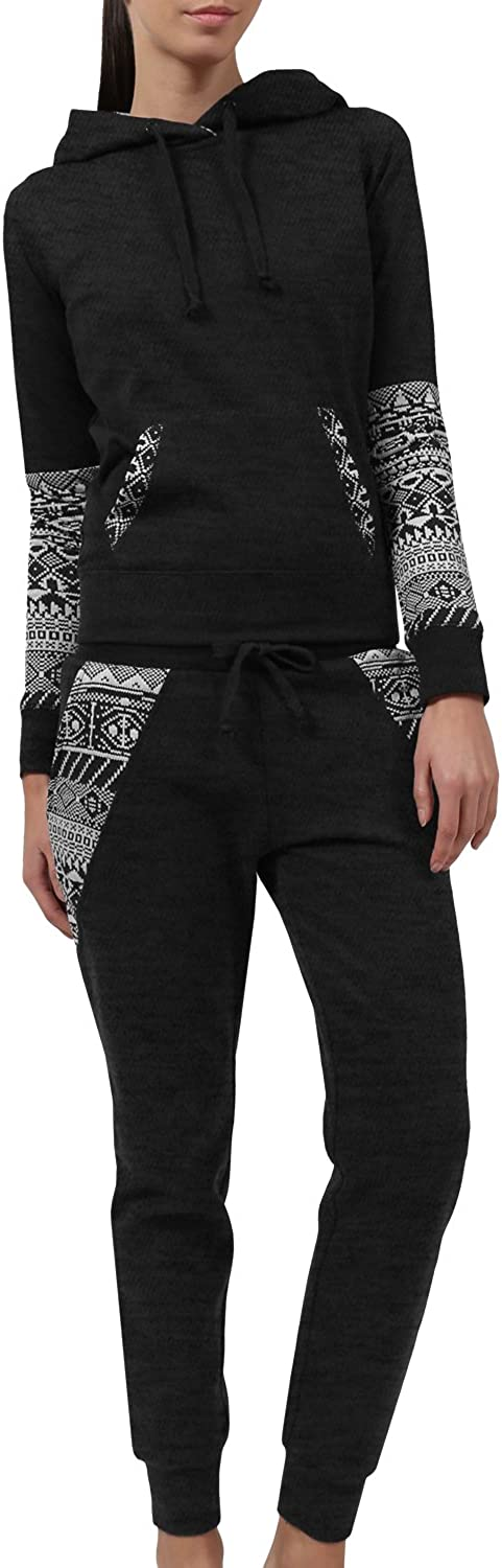 J LOVNY Women Light Fleece Pullover Hoodie and Jogger Sweatpants Tracksuit Set