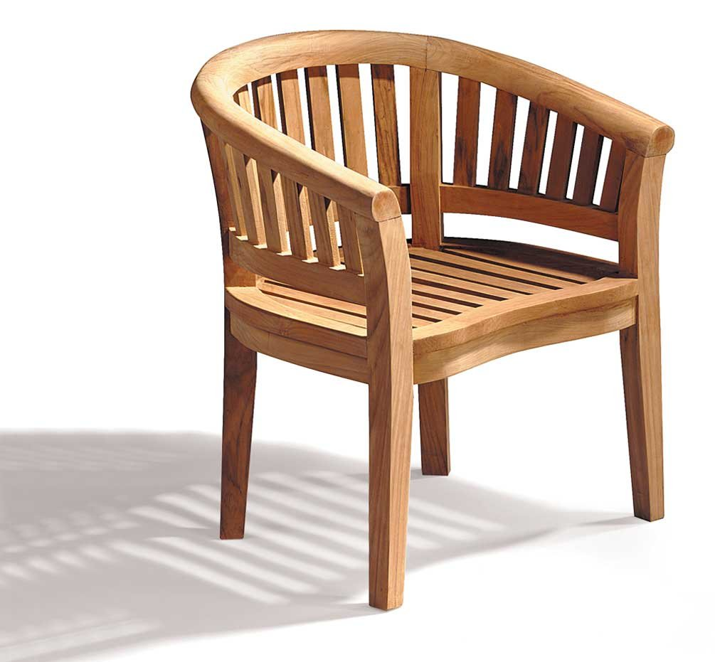 Teak Curved Banana Garden Chair Outdoor Armchair Jati Brand