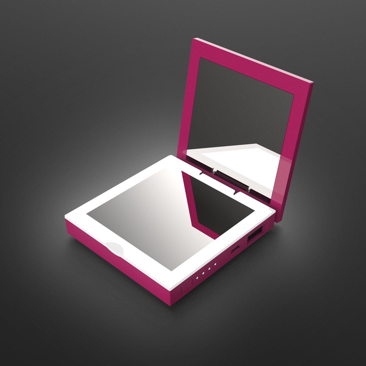 Mini Batterie Externe Miroir LED Power Bank 1600mAh Miroir de Maquillage Cosm/étique Cadeau pour maman Violet Cadeau pour femme Cadeau pour copine Cadeau pour Voyage