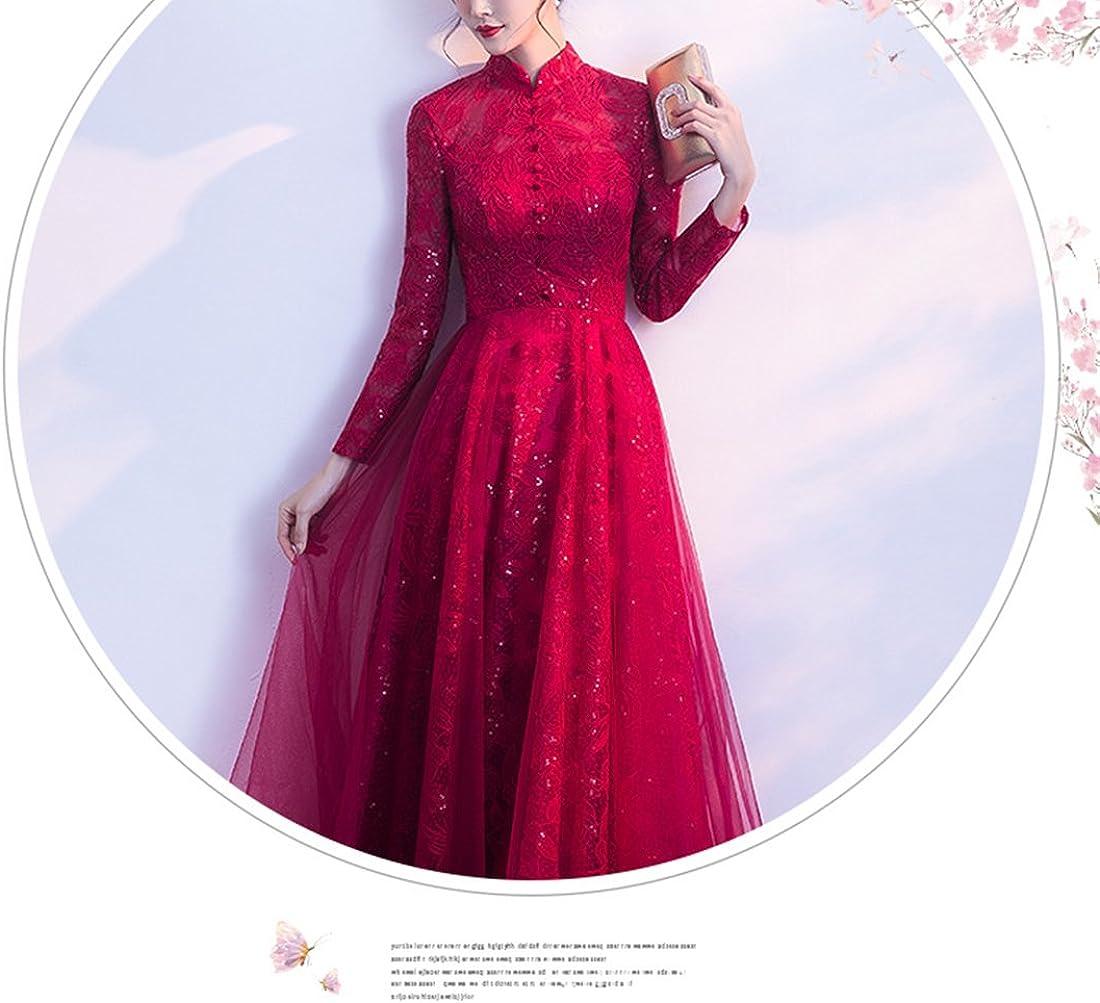 Red Wedding Dress Long Standing Collar Neck Evening Dress with Button
