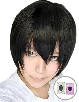 [2 tipos de redes peluca con] pelo negro corto peluca negro negro [de