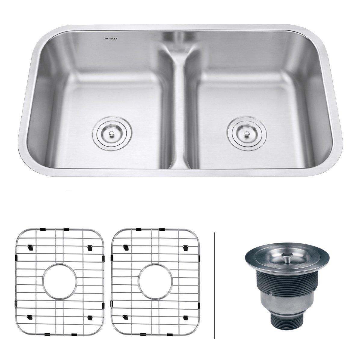 American Made Kitchen Sinks Ruvati Rvm4350 Undermount 32 Low Divide 16 Gauge Kitchen Sink