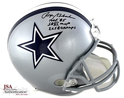 """a70726b52bd Roger Staubach Autographed/Signed Dallas Cowboys Riddell Full Size NFL  Helmet With"""" 2X SB"""