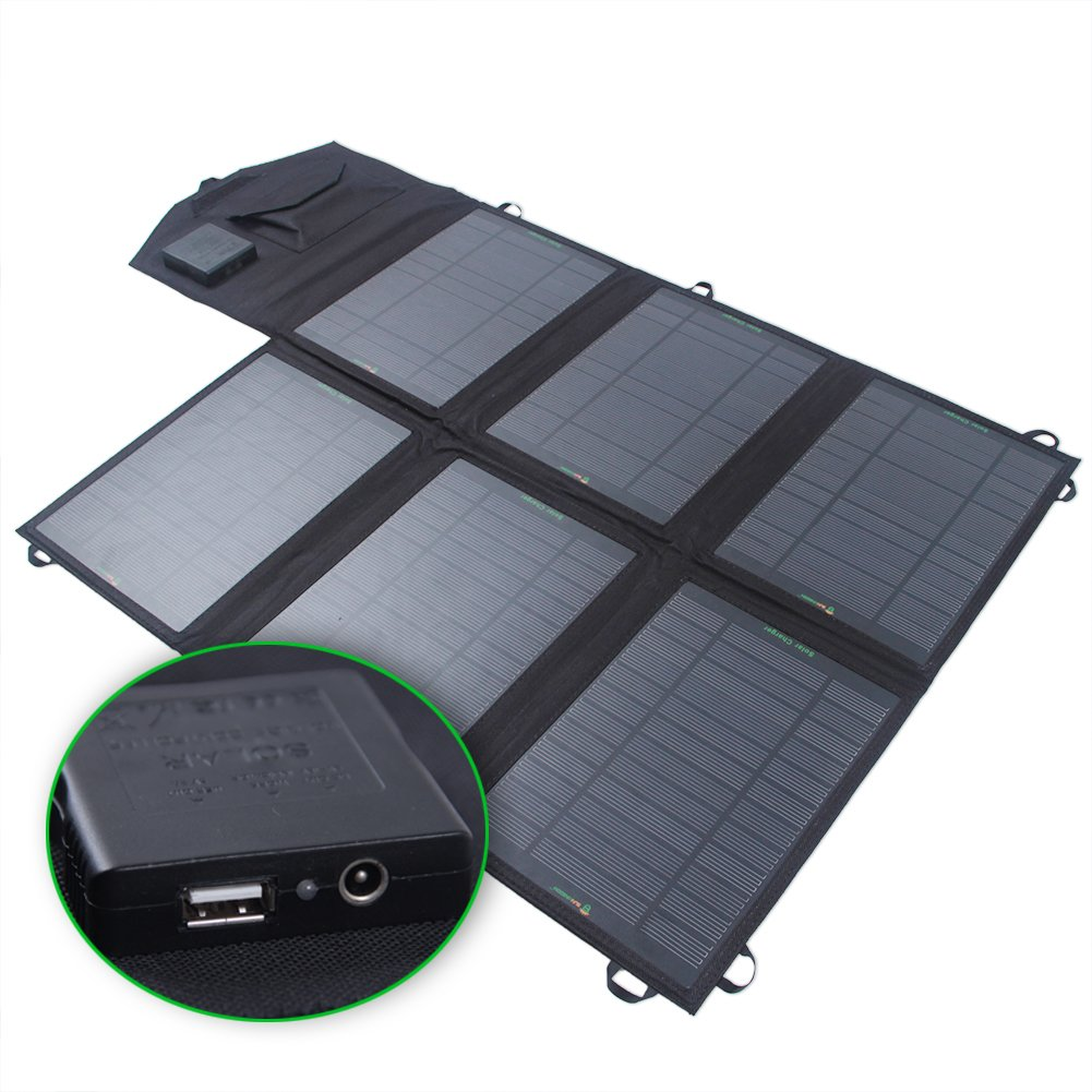 SUNKINGDOM™ 39W 2-Port DC USB Solar Charger with Portable Foldable Solar Panel PowermaxIQ Technology for iPhone, iPad, iPod, Samsung, Camera, and More (Black) by SUNKINGDOM
