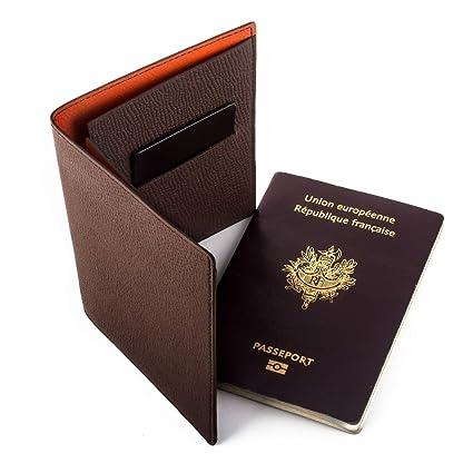 Maroquinerie France Etui Porte Passeport Cuir Veau Grainé Marron - Porte passeport cuir