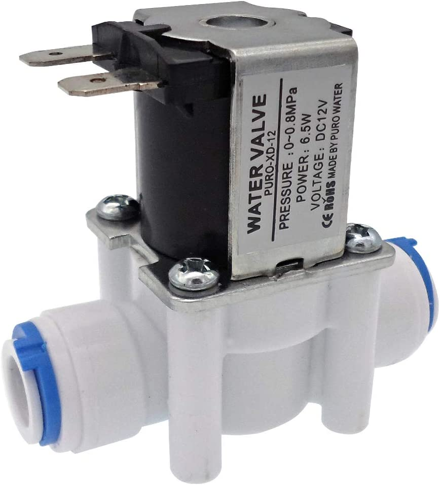 """DIGITEN 12V 3/8"""" Inlet Feed Water Solenoid Valve Quick Connect for RO Reverse Osmosis"""