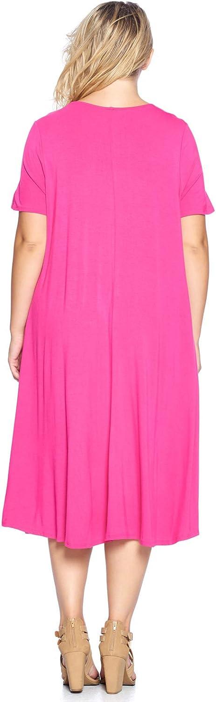 Made in USA Modern Kiwi Womens Plus Size Short Sleeve Flowy A-Line Pocket Midi Maxi Dress 1X-5X