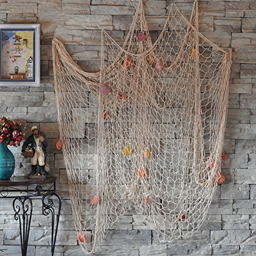 Dngdom Mediterranean Style Decorative Fishing Net with Shells, Pure Manual Weaving Craft & Hanging Decoration (White) by (Baby Shower Beach Theme)