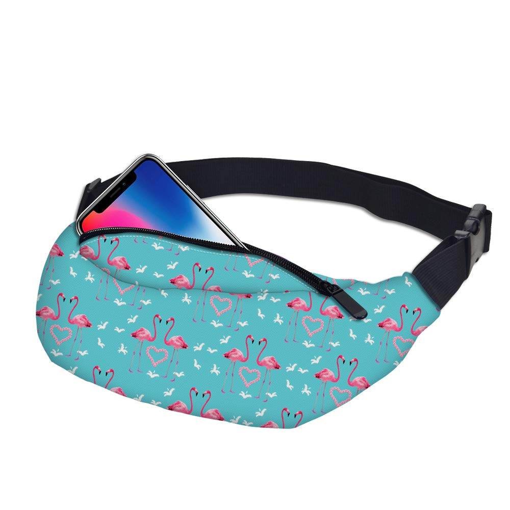 Hwyaobao 3D Colorful Waist Pack for Men Fanny Pack Green Leaves Style Bum Bag Women Money Belt Travelling Mobile Phone Bag