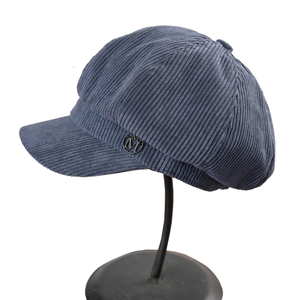 Vitality Shop Women's Octagonal Hat Cotton Corduroy newsboy Cap Gatsby IVY Hat (Blue)