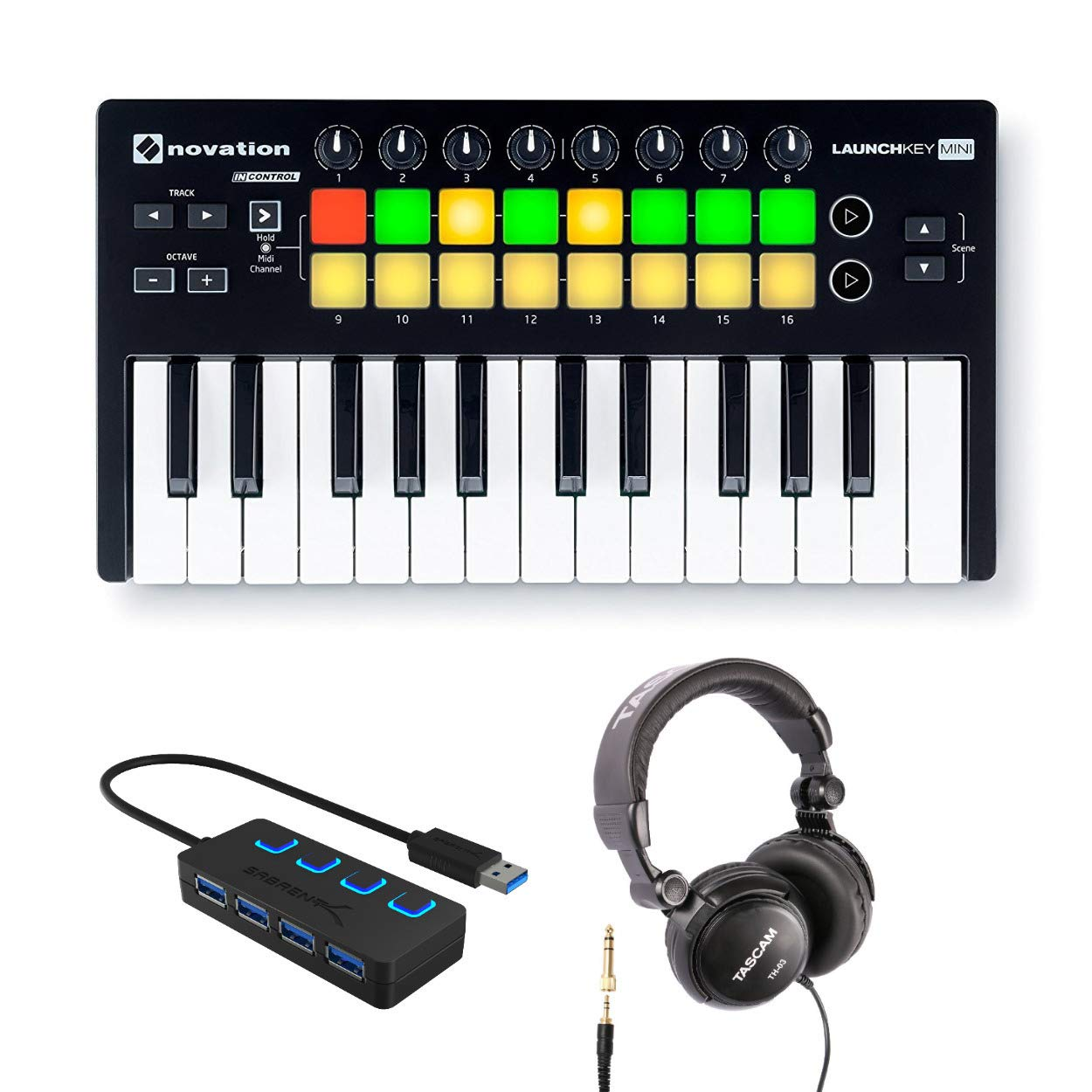 Novation Launchkey Mini 25-Note USB Keyboard Controller MK2 with Headphones and 4-Port 3.0 USB HUB by Novation
