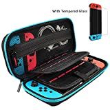 Hestia Goods Nintendo Switch Case and Tempered Glass Screen Protector Deluxe Hard Shell Travel Carrying Case, Hard Pouch Case for Nintendo Switch Console & Accessories, Streak Teal