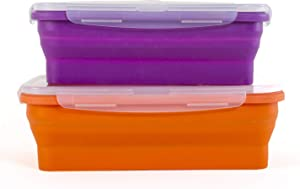 Thin Bins Collapsible Containers – Set of 4 Silicone Food Storage Containers – BPA Free, Microwave, Dishwasher and Freezer Safe - No more cluttered container cabinet! (XL)