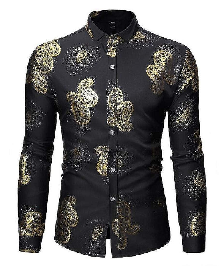 X-Future Men Formal Regular Fit Printed Long Sleeve Lapel Neck Button Up Dress Work Shirt