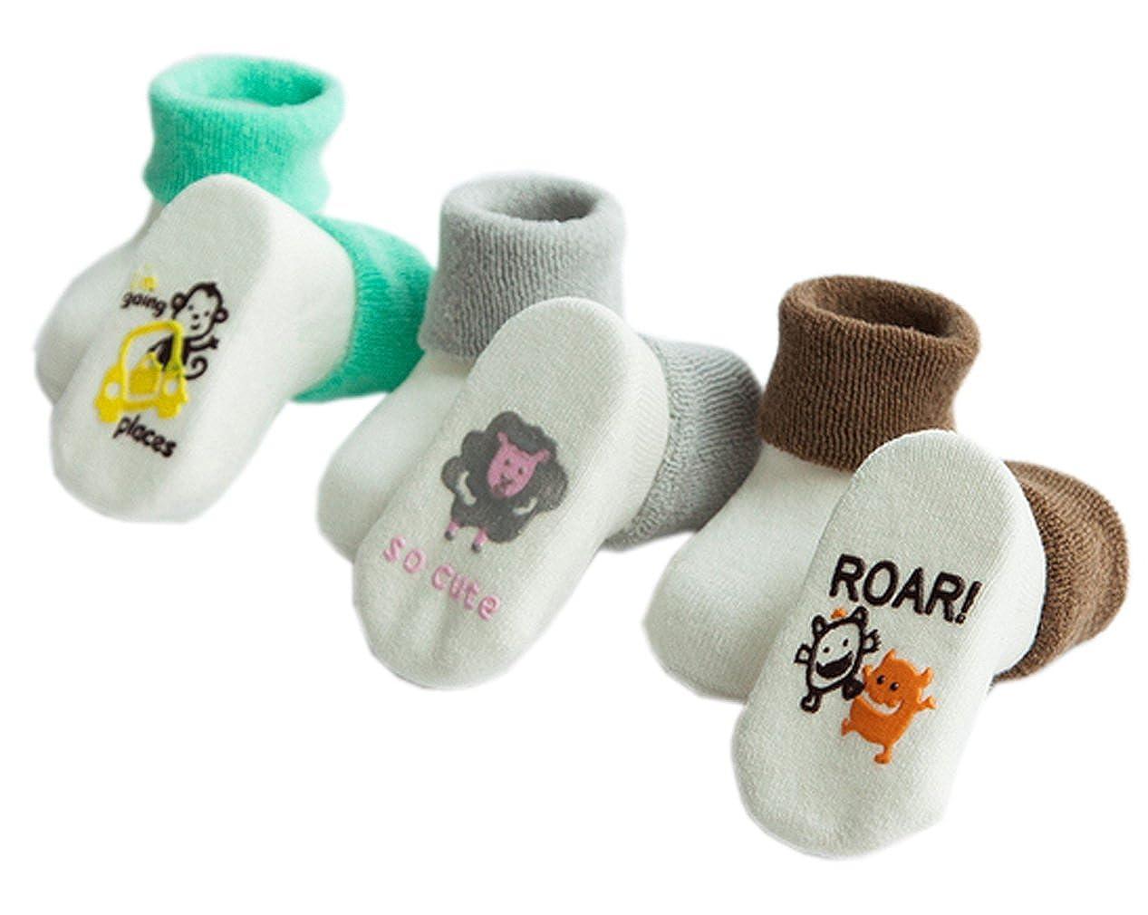 Xiang Ru Baby 3 Pairs Cotton Tender Cartoon Terry Socks