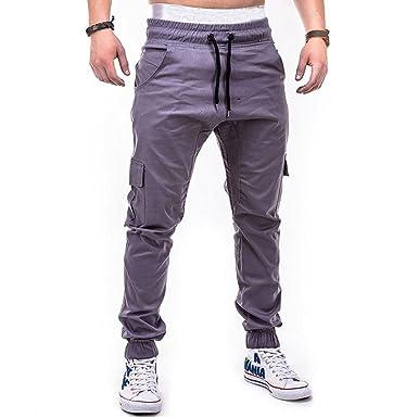 ccb1fe8a1fe63e MOIKA Sporthose Herren Lang, Mode Herren Sport Pure Color Bandage  beiläufige Lose Sweatpants Drawstring Pant