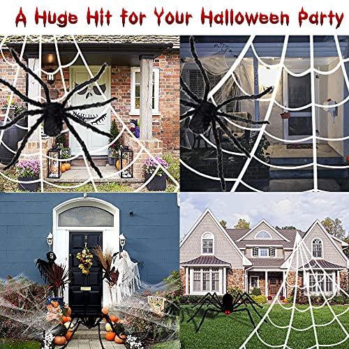 Halloween Deko Set riesige Spinne 200cm, Großes dreieckiges Spinnennetz 7Mx5M, dehnbares Spinnnenweben, 10 mini Plastik Spinnen, Geruseliges Hallloween Garten Aussen Dekoration Halloween Requisiten