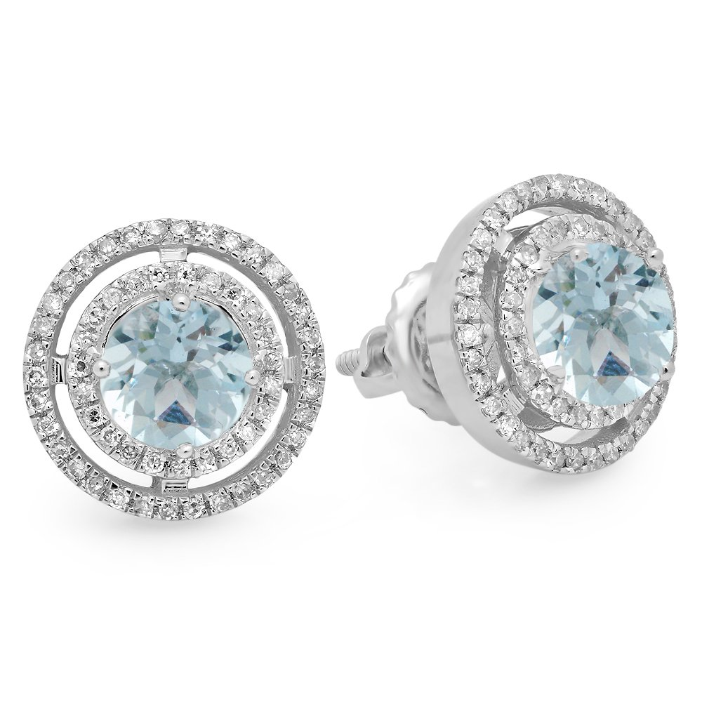 14K White Gold Round Aquamarine & White Diamond Ladies Halo Style Stud Earrings by DazzlingRock Collection