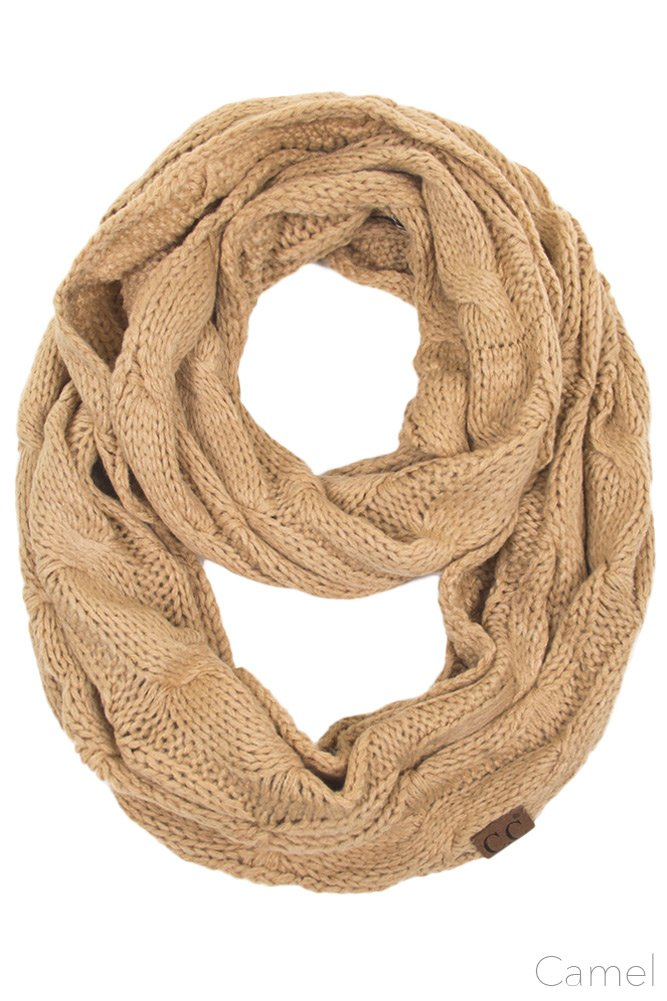 ScarvesMe CC Women Fashion Knitted Weaved Infinity Loop Scarf (Camel)